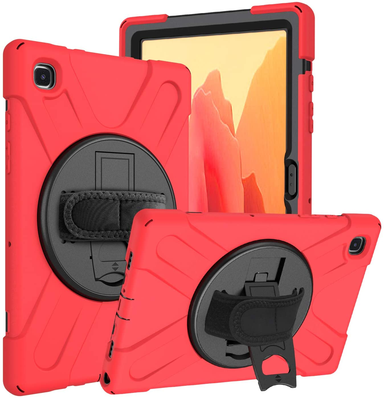 Galaxy Tab A7 10.4 T500/T505 Case, KIQ Heavy Duty Shockproof Case, Cover, Stand, Hand/Palm Grip, Carrying Shoulder Strap Sling for Samsung Galaxy Tab A7 10.4-inch 2020 SM-T500 SM-T505 [Shield Red]