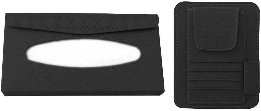 MiOYOOW Car Tissue Holder, Auto Napkin Holder Case PU Leather Sun Visor Tissue Box Card Organizor Car Tissue Box