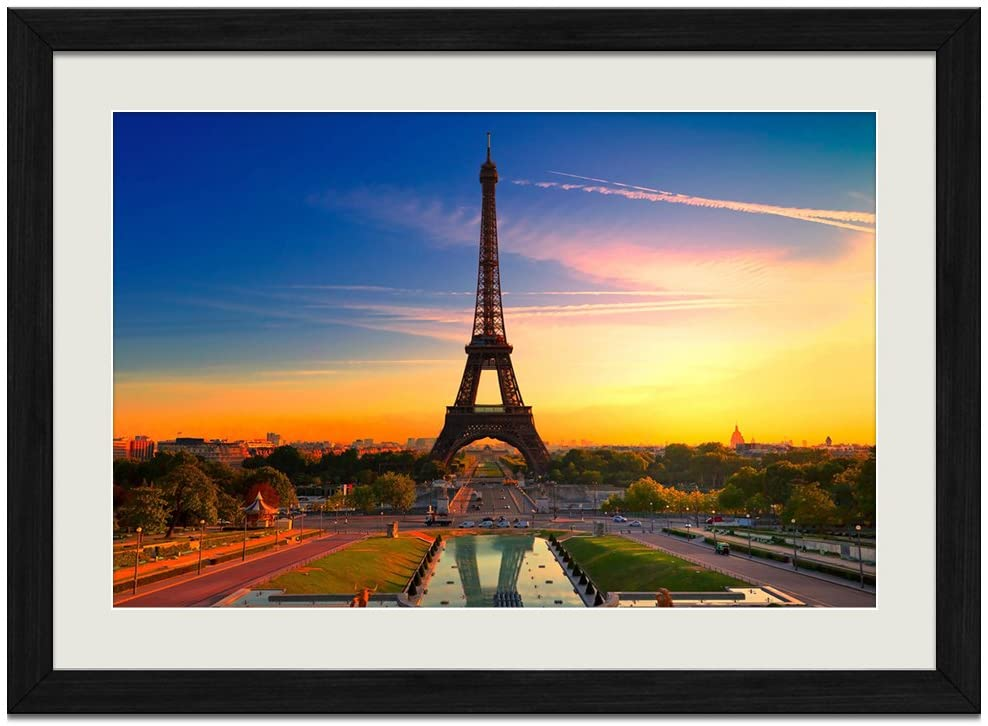 Eiffel Tower Sunset - Art Print Wall Black Wood Grain Framed Picture(16x12inches)
