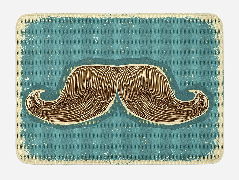 Lunarable Mustache Bath Mat, Hand Drawn Illustration of Curvy Edged Bushy Mexican Moustache, Plush Bathroom Decor Mat with Non Slip Backing, 29.5