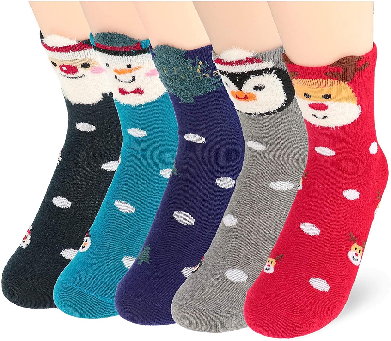 Kidstree Fashion Toddler Girls Socks Winter Cotton Kids Crew Socks 5 Pairs