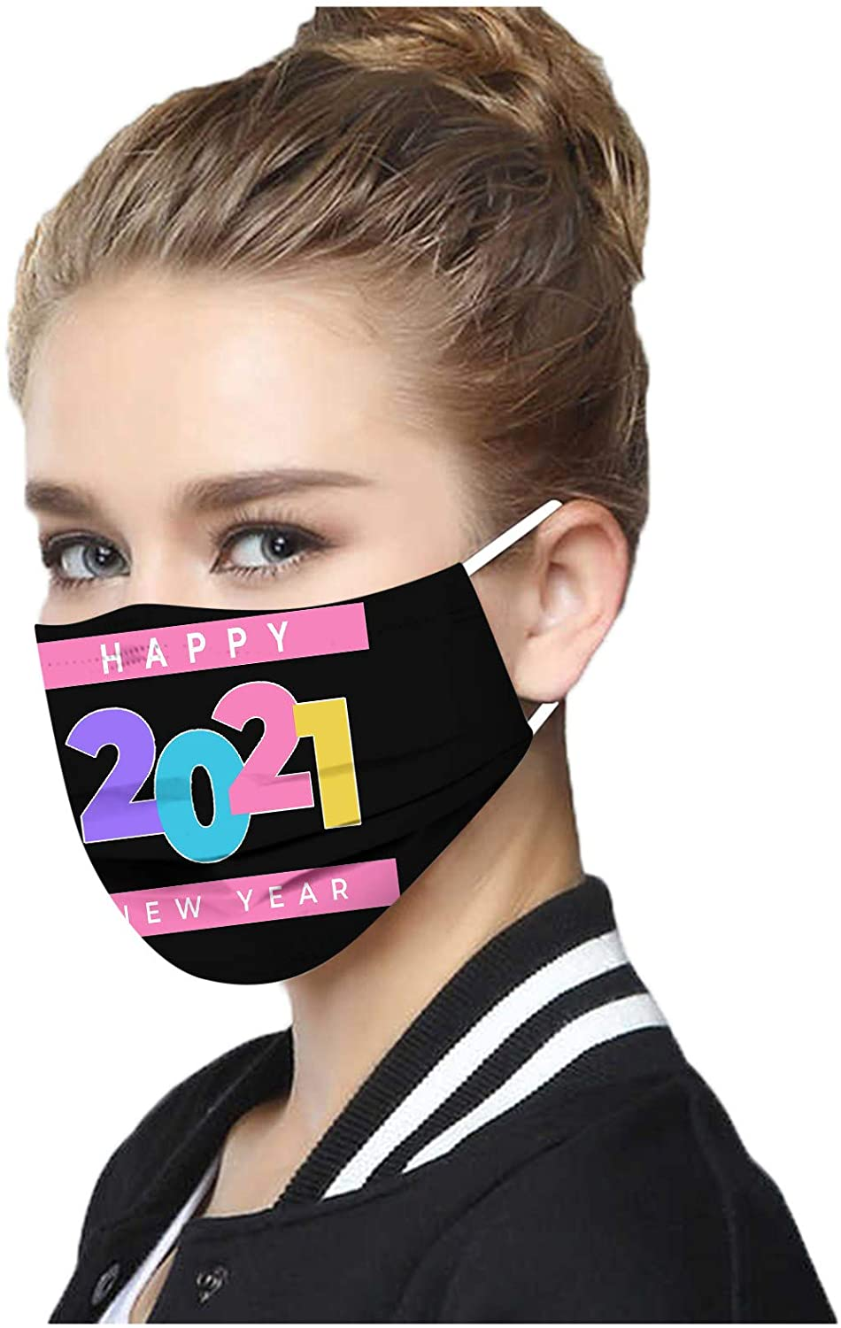 10PC Disposable MÀsk, 2021 Happy New Year Adult Face Covering Protection Personal Protective Face Shield, for Running, Cycling, Outdoor Activities for Men and Women Filters (B)
