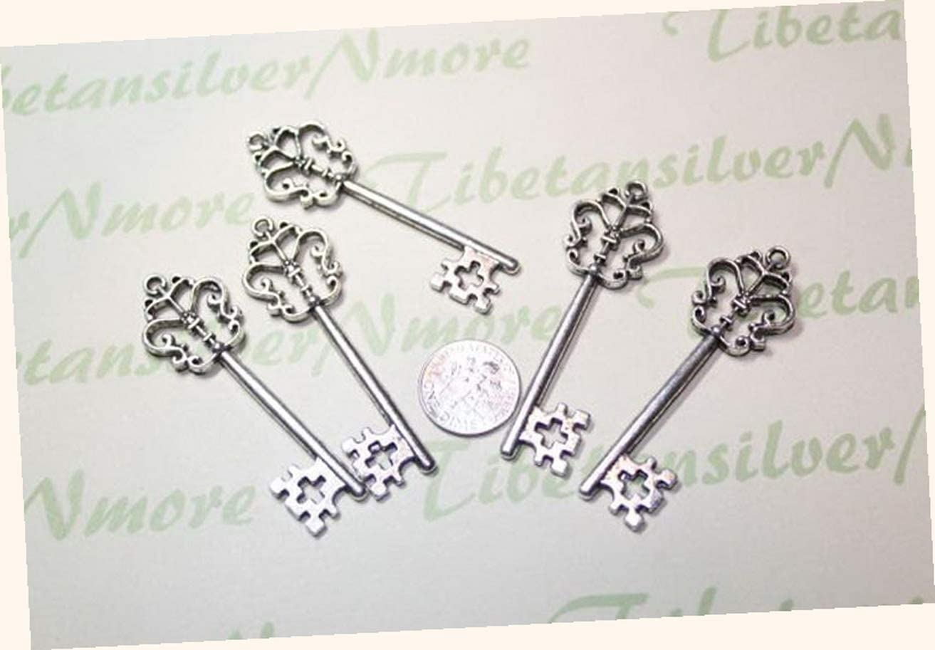 6 pcs per lot 58x18mm Skeleton Key Charm Antique Silver Finish Adorable Charms and More for Your own Designs by CharmingStuffS