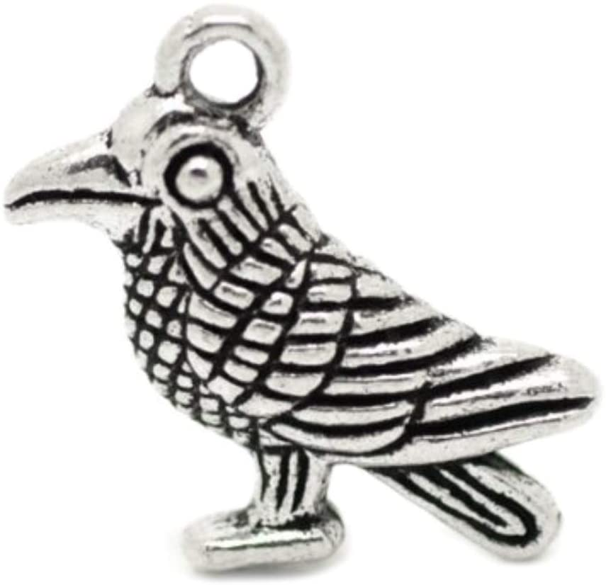 PEPPERLONELY 30pc Antiqued Silver Alloy Bird Charms Pendants 19x13mm (3/4x1/2)
