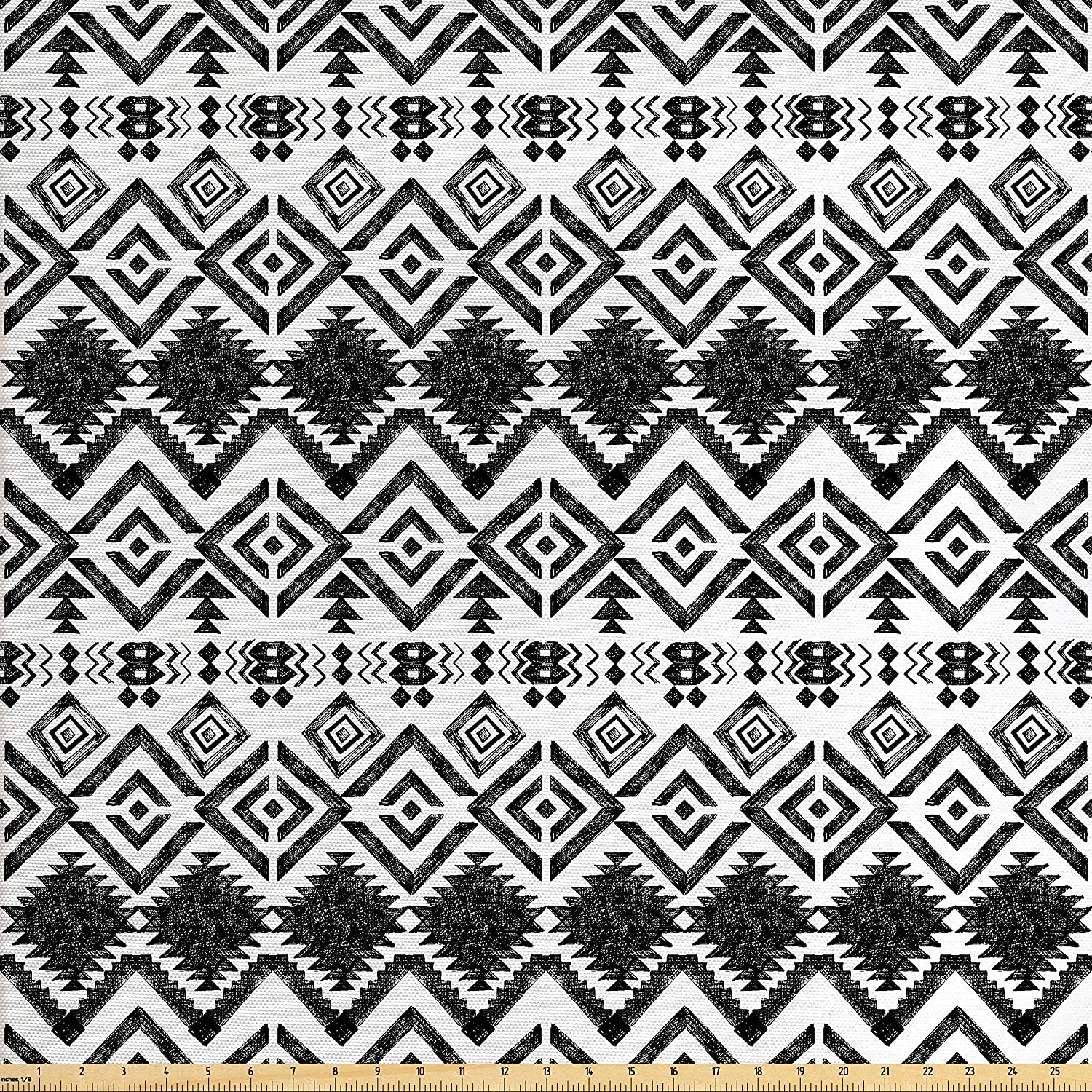 Ambesonne Tribal Fabric by The Yard, Hand Drawn Style Tribal Pattern Geometric and Oranmental Aztec Design Print, Decorative Fabric for Upholstery and Home Accents, Black and White