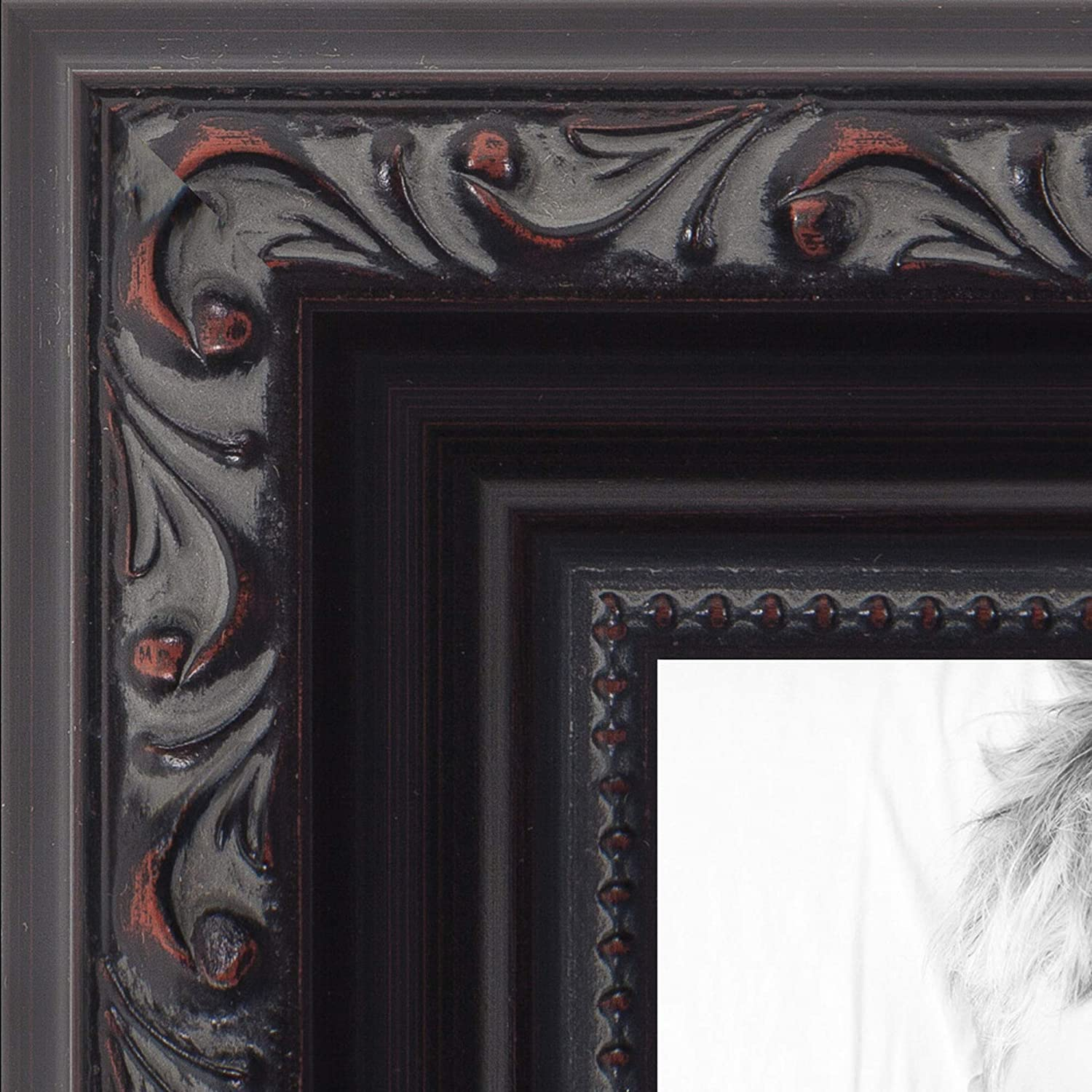 ArtToFrames 24x36 inch Black with Beads Wood Picture Frame, WOMD10188-24x36