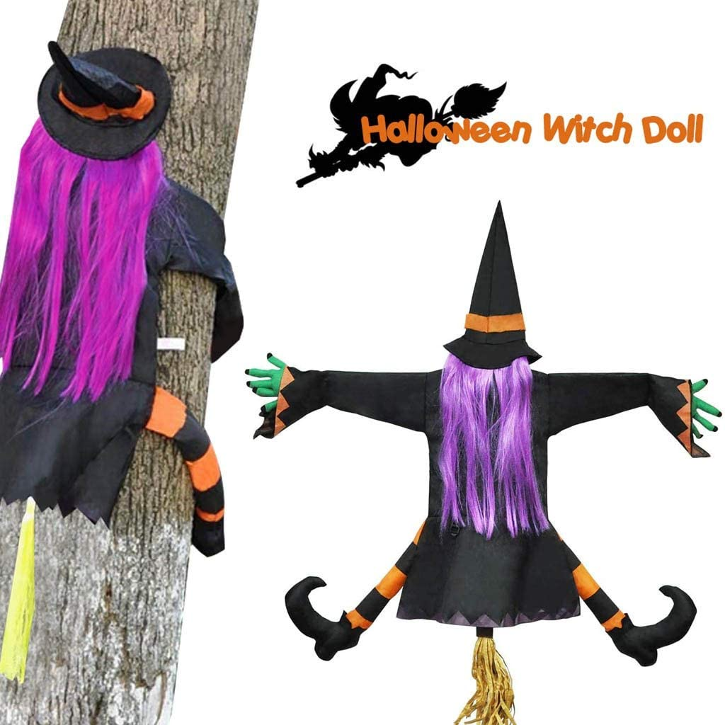 Islandse Crashing Witch into Tree, (Purple Hair) Halloween Decoration, Props Door Porch Tree Decor, Hanging Yard Outdoor Ornament for Halloween Funny Party(40