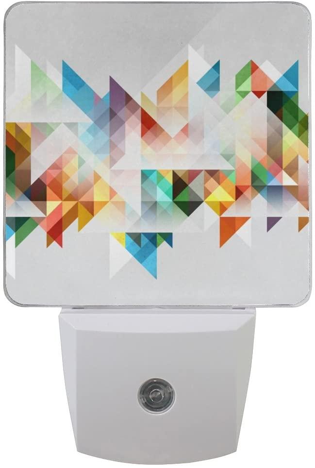 Printing Art Abstract Patterns on Plug-in LED Night Light Warm White Nightlight for Bedroom Bathroom Hallway Stairways(0.5W 2-Pack)