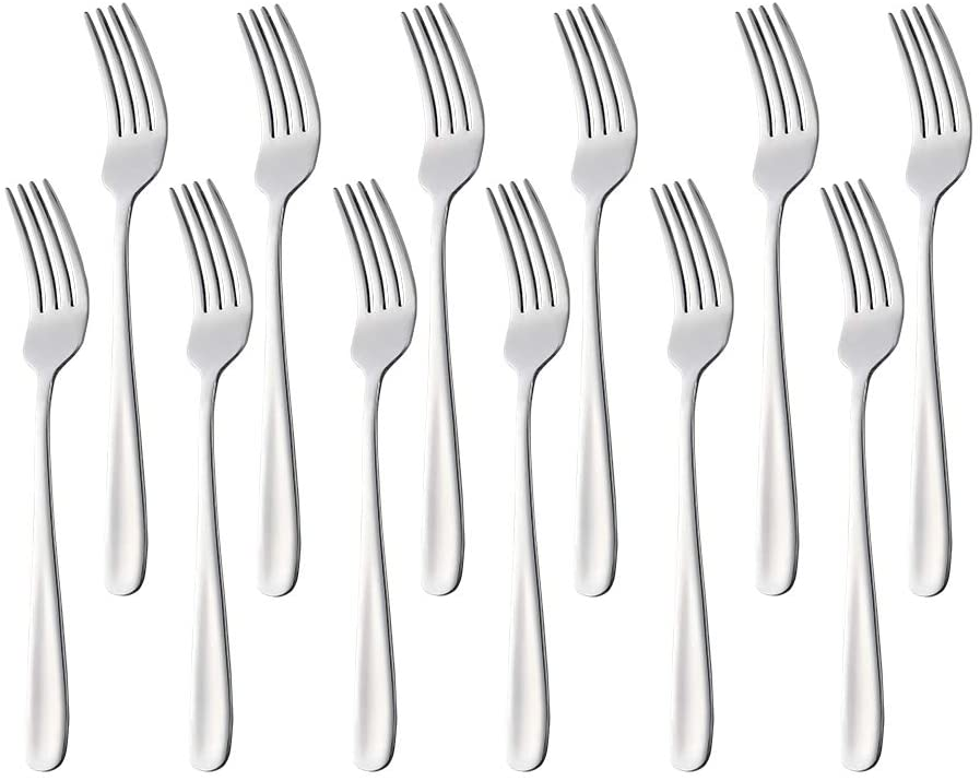 12-Piece Salad Forks, Dongbo 7.2-Inch 18/10 Stainless Steel Flatware Drssert Fruit Fork Set, Silver