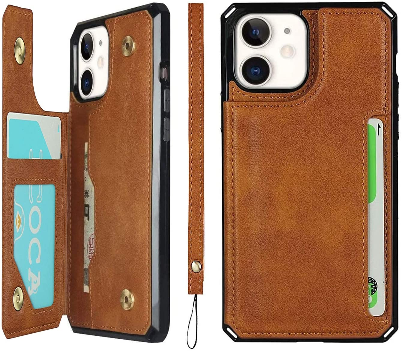 iCoverCase Compatible with iPhone 12 Mini Wallet Case with Card Slots Holder and Wrist Strap Premium PU Leather Kickstand Double Magnetic Clasp Shockproof Flip Folio Cover with Lanyard (Khaki)