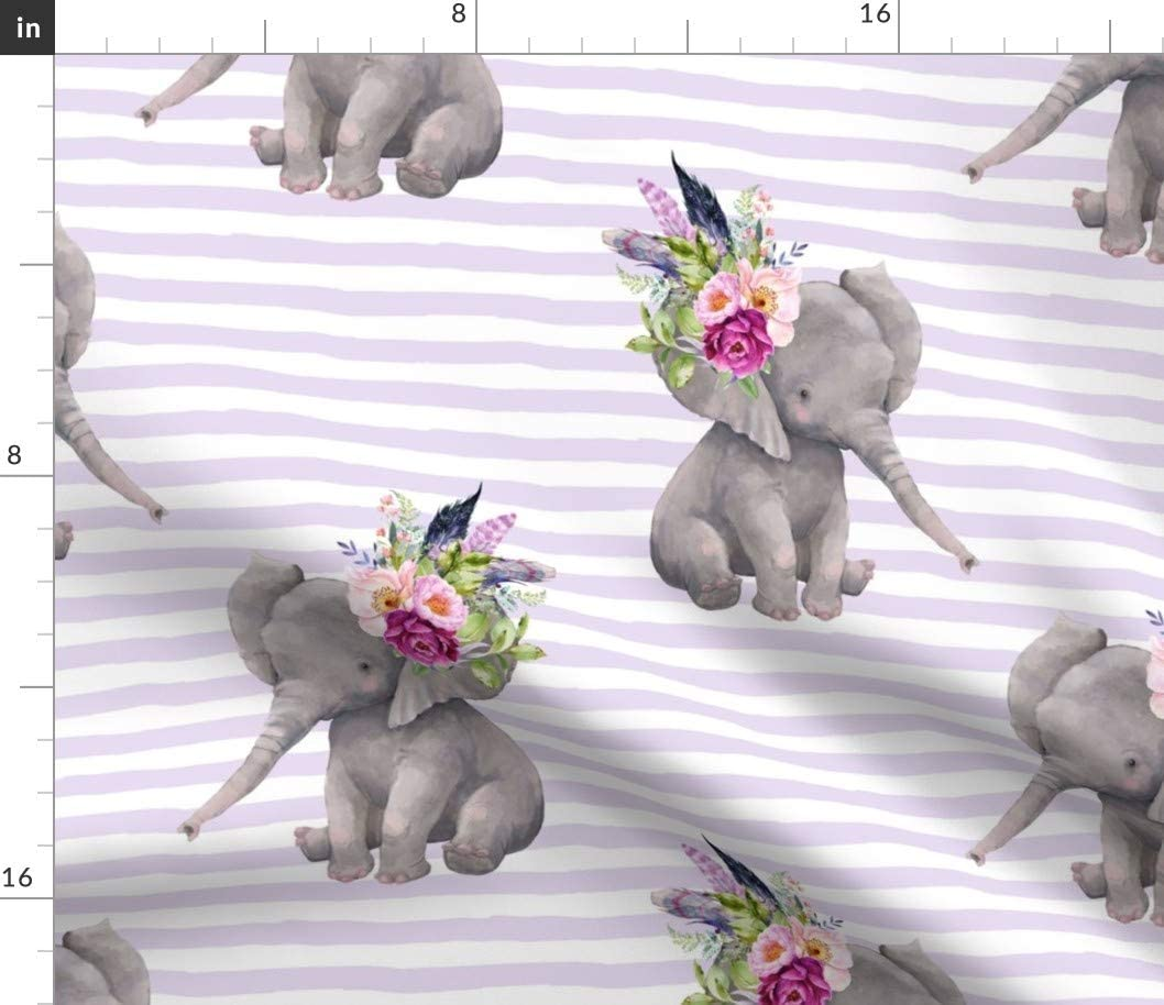 Spoonflower Fabric - Boho Lilac Elephant Stripes Feathers Floral Nursery Printed on Petal Signature Cotton Fabric by The Yard - Sewing Quilting Apparel Crafts Decor
