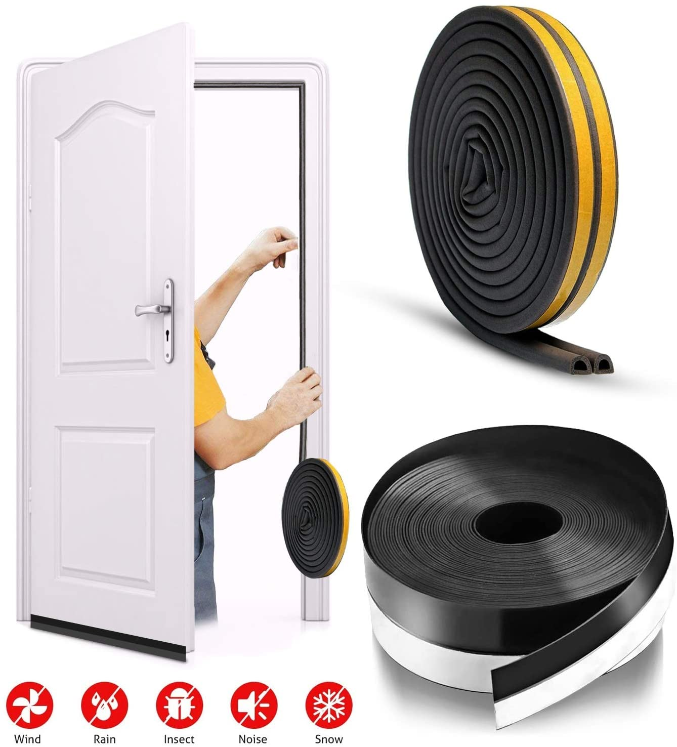 Zengest 16.5 Ft Door Draft Stopper with 33 Ft Type D Weather Strip (Black), Self Adhesive Soundproof and Heat-Insulating Seal Set for Doors and Windows