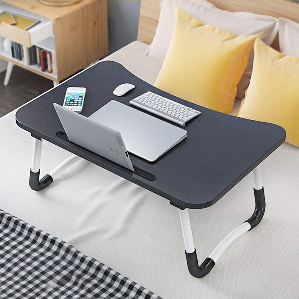 Foldable Laptop Table Tray,Folding Standing Lap Computer Desk Lazy Notebook Breakfast Sofa Bed Tray (Black)