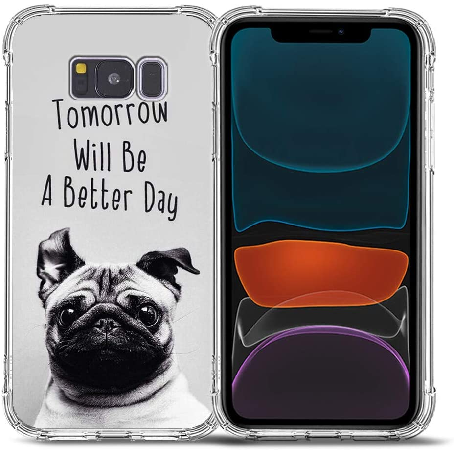 Galaxy S8 Plus Case,Bcov Grey Cute Pug Dog Drop Protection Shockproof Case TPU Full Body Protective Scratch-Resistant Cover for Samsung Galaxy S8+
