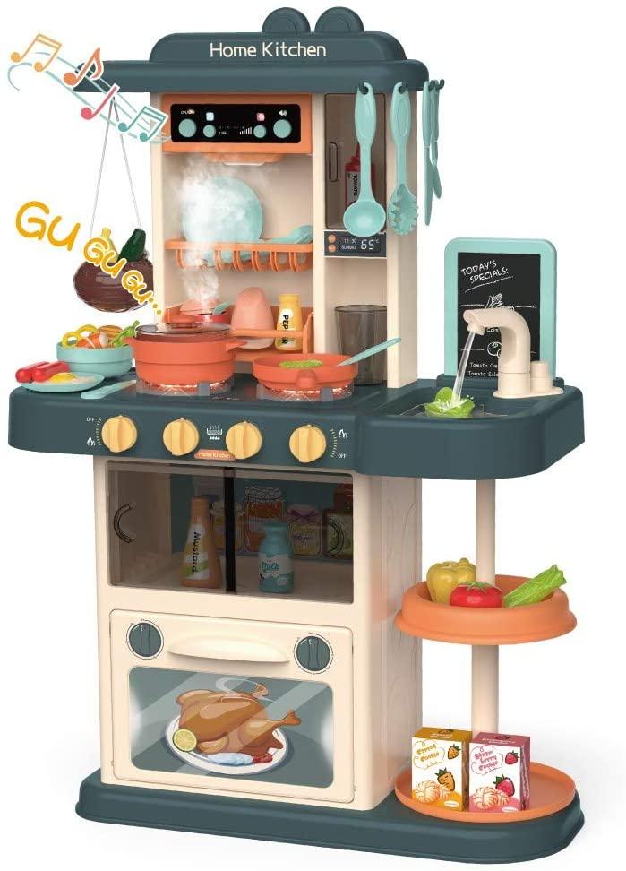 Makkalen Kids Kitchen Playsets with Realistic Lights & Sound,Play Sink with Running Water,Desert Shelf Toy Kitchen Accessories