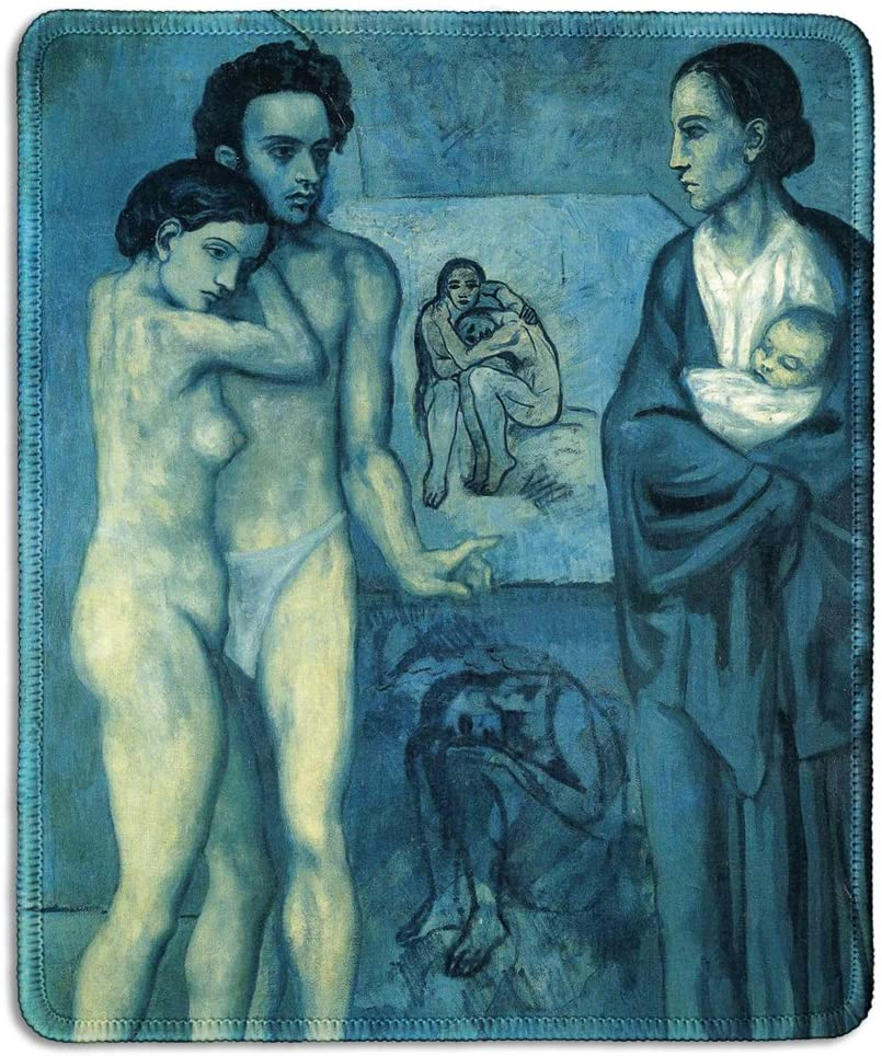dealzEpic - Art Mousepad - Natural Rubber Mouse Pad with Famous Fine Art Painting of La Vie (Life) by Pablo Picasso Blue Period's Work - Stitched Edges - 9.5x7.9 inches