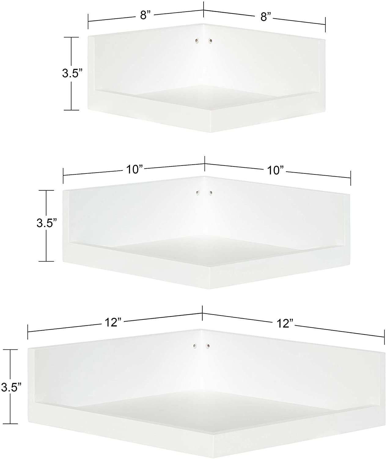 Kate and Laurel Levie Corner Shelves, Set of 2, White, Contemporary Floating Corner Wall Shelf in Multiple Sizes