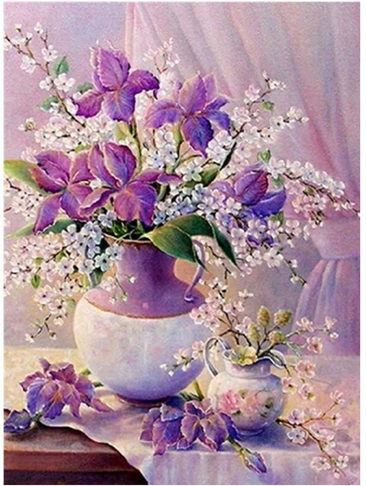 Purple Beautiful vase 5D DIY Diamond Painting,Cross Stitch-5D Diamond Painting Full Drill-Embroidery-Gift- Diamond Painting Kits for 11.8X15.7inch
