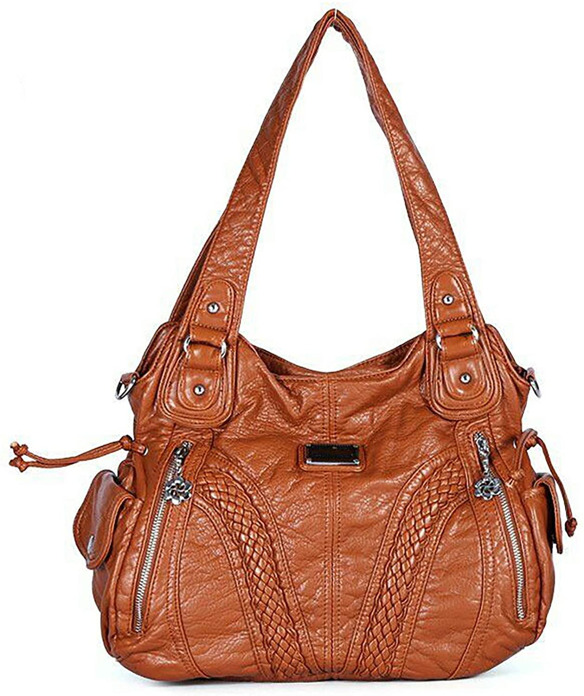 HOSTIC Women Shoulder Bag Messenger Tote Washed Leather Purses Handle Satchel Handbag
