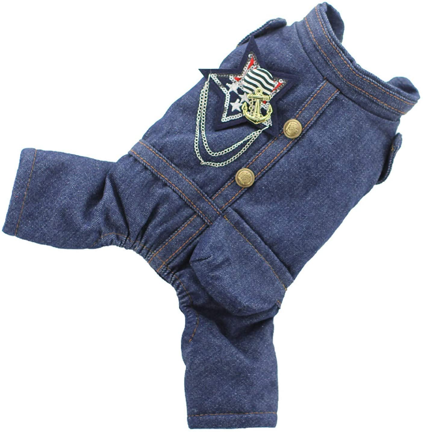 Beclgo Dog Costumes Winter Warm Pet Cat Jeans Jacket Soft Comfort Blue Puppy Denim Clothes Vintage Thickened Pet Coat for Small Medium Dogs Cats(xs,Blue)