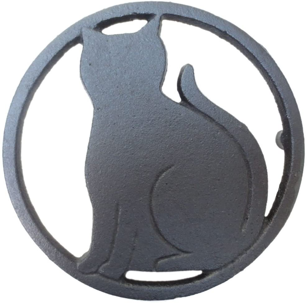 Black Cat Metal Trivet with Feet for Kitchen or Dining Table - Cast Iron - 5.6-Inches Across - More than One Makes a Set for Countertop - Popular Cat Lover Gifts and Halloween Decorations