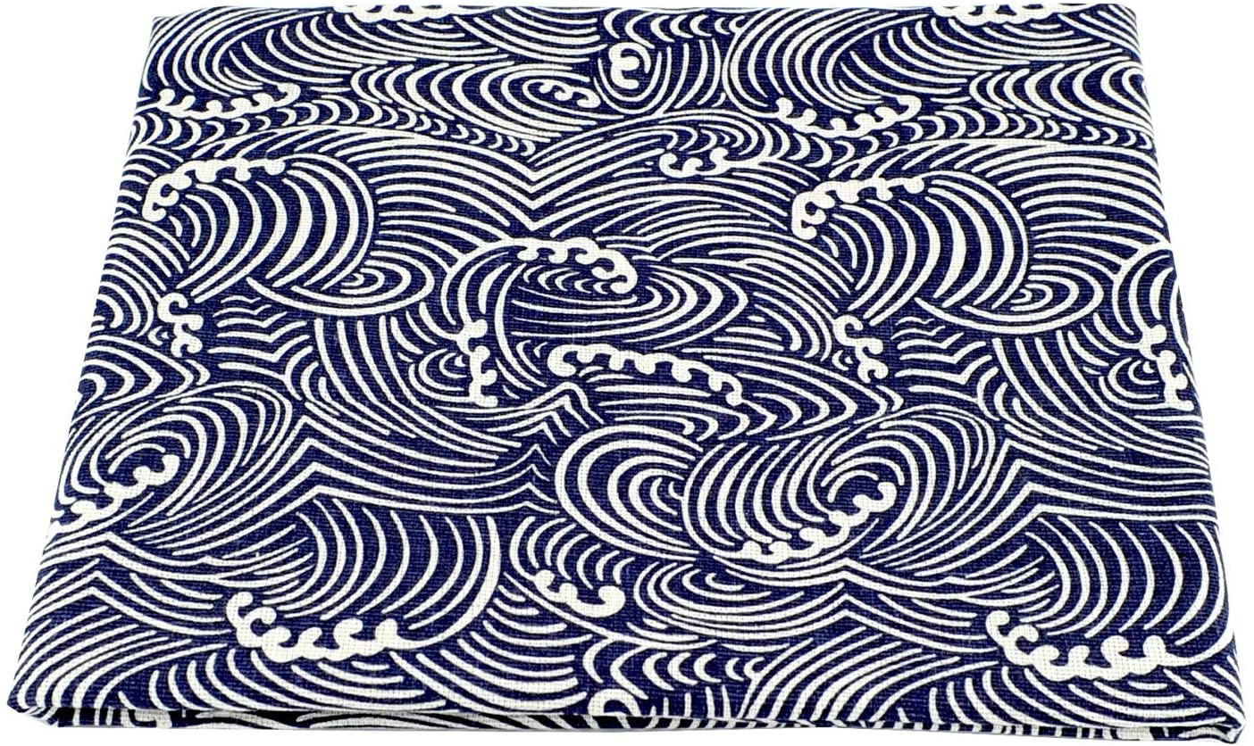 Linen Cotton Printed Fabric for Home Decoration and Crafting by The Meter(Dark Blue Sea Wave)