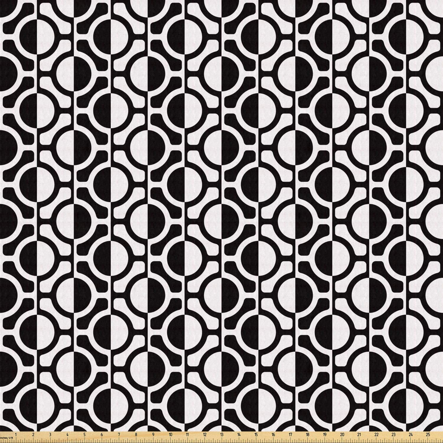 Ambesonne Black and White Fabric by The Yard, Lattice Pattern with Geometric Circles and Lines Abstract Monochrome Grid, Stretch Knit Fabric for Clothing Sewing and Arts Crafts, 1 Yard, Black White