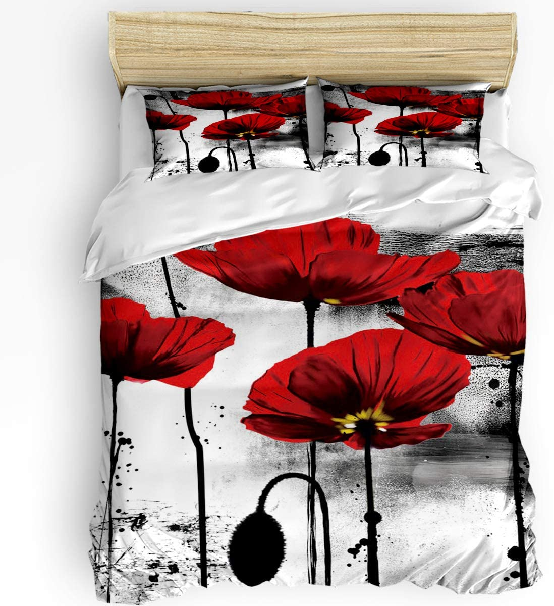 3 Pcs Duvet Cover Set King Size - Vintage Bedding Set, Red Poppy Flower Ink Painting Down Comforter Cover with Matching 2 Pillowcases for Kids Children Teens Boys Girls