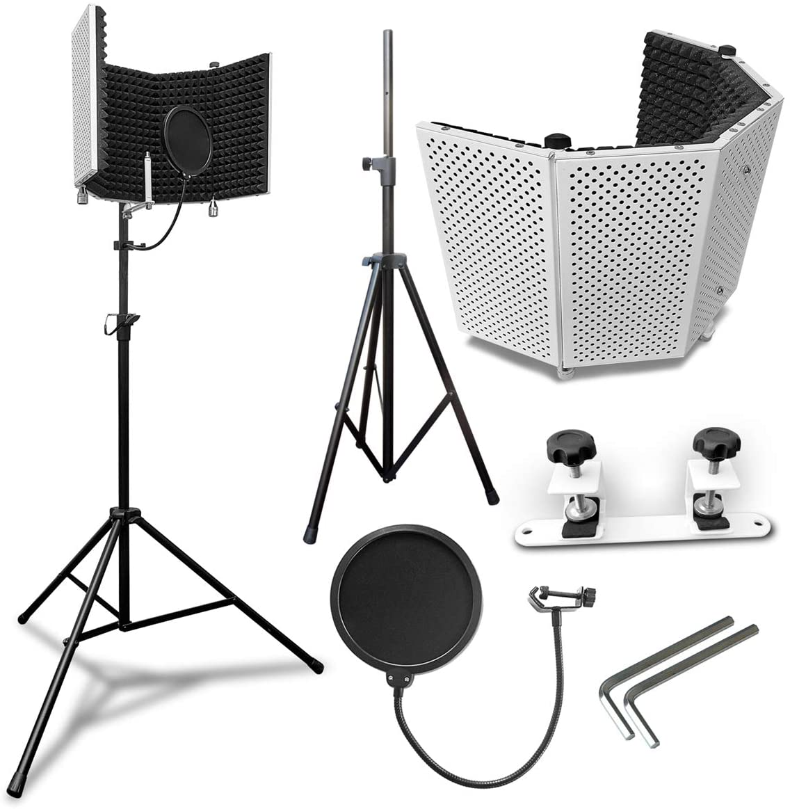 AxcessAbles SF-101KIT-VW Vented Recording Studio Microphone Shield with Stand (White)