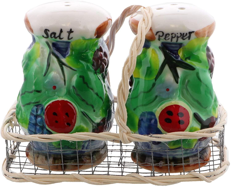 Novelty Salt and Pepper Shaker Set for the Kitchen Collector - Basket Weave Watermelon