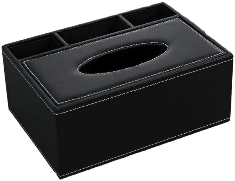 Healifty Tissue Box Holder Multifunctional Desktop Organizer Remote Control Holder Pencil Scissor Container PU Leather Tissue Box(Black)