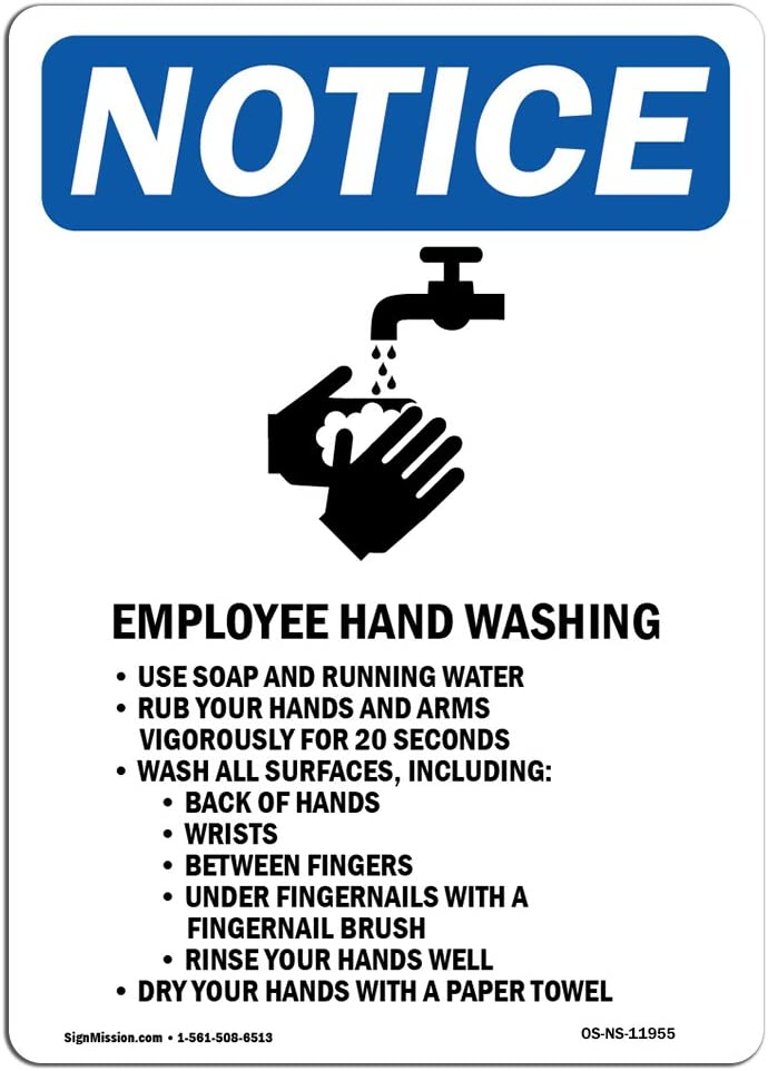 OSHA Notice Sign - Employee Hand Washing Sign with Symbol | Choose from: Aluminum, Rigid Plastic or Vinyl Label Decal | Protect Your Business, Construction Site, Warehouse |  Made in The USA