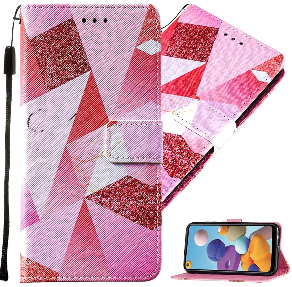 MEIKONST Stylish Cute PU Leather Bookstyle Phone Case Suitable for Girls Boys, with Stand Card Holder Magnetic Clasp Cover for iPhone 6s Plus/ 6 Plus/ 7 Plus/ 8 Plus, YBN Pink Rectangle