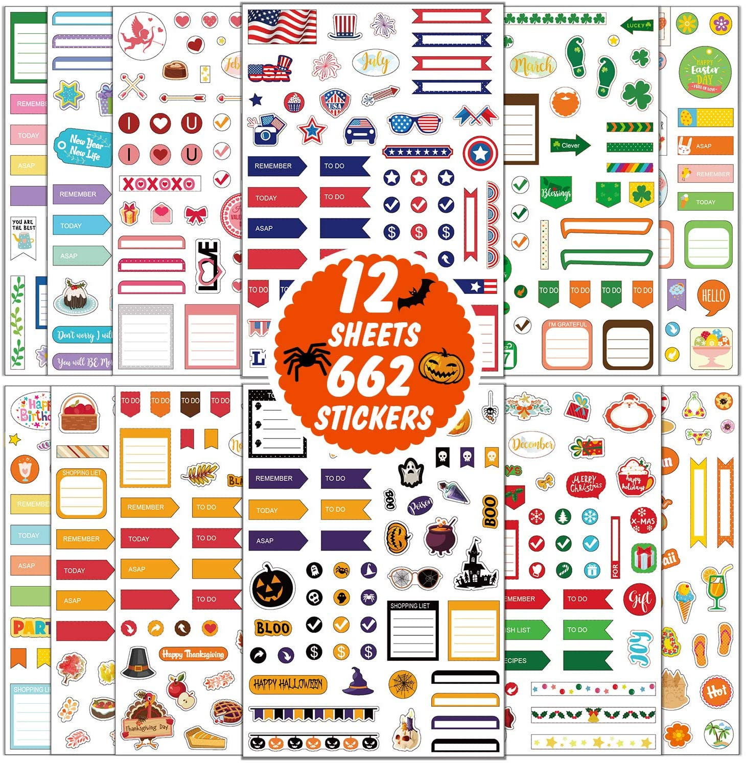 662 Pieces Journal Planner Stickers Set 12 Sheet Different Seasonal Sticker Decorative DIY Craft for Monthly Weekly Daily Planner Stickers Calendars