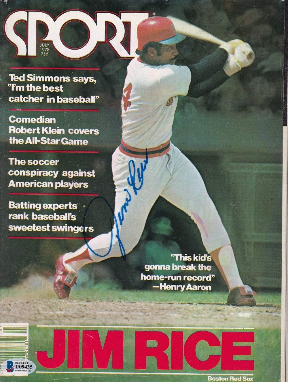 Jim Rice Signed Boston 1978 Sport Magazine BAS U09435