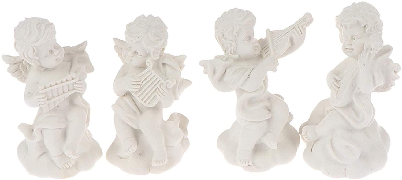 KKONION 4Pcs Mini Cute Angel Cherub Figurines Resin Adorable Cupid Angel Statues Ornament Memorial Statue for Home Decor