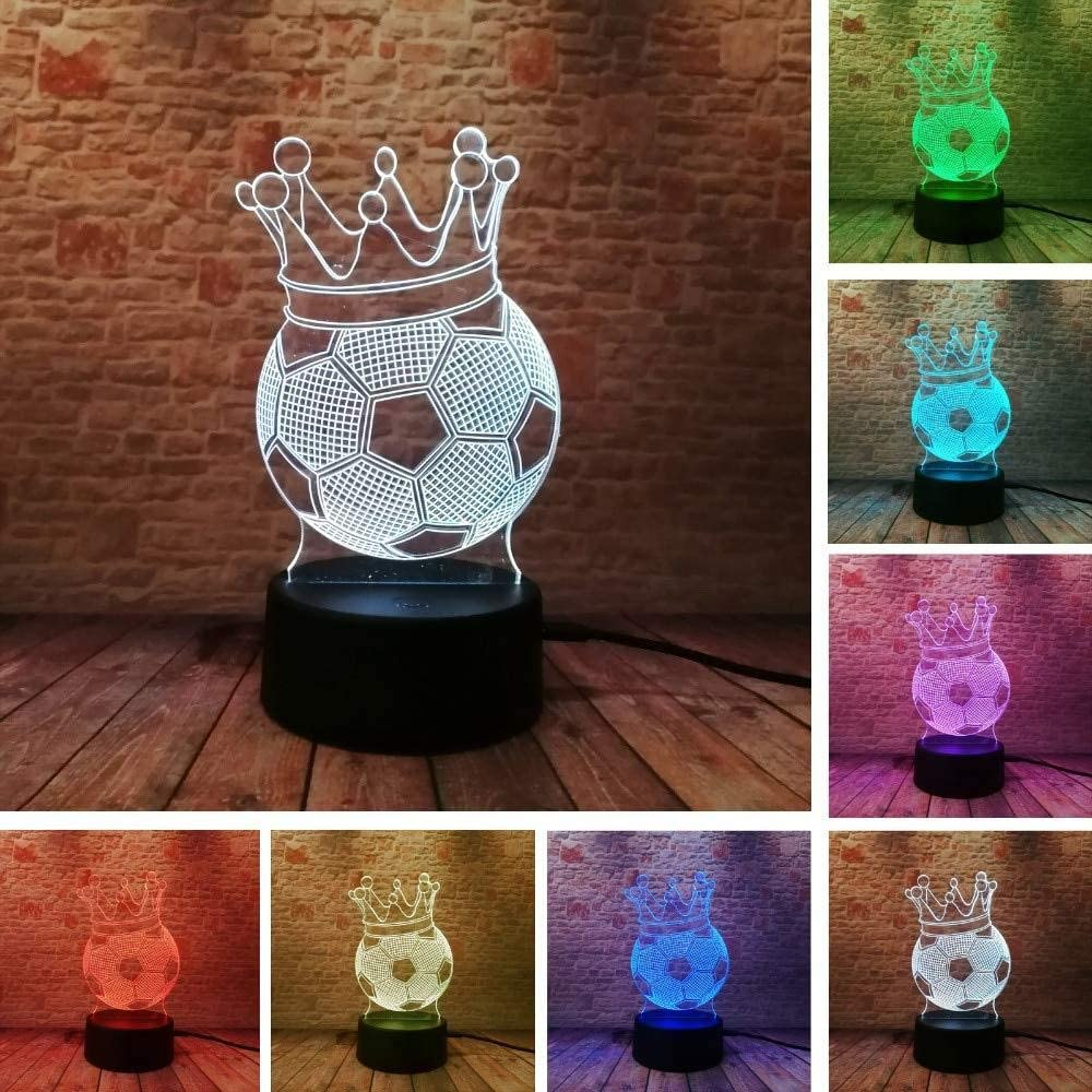dferh 3D Imperial Crown Football Illusion Lamp LED Night Lights Novelty Mood Visual Atmosphere Party Lamp for Kids