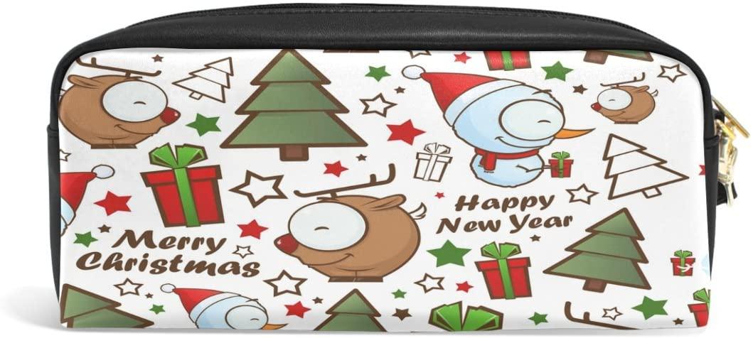 ALAZA Cute Snowman Owl Christmas PU Leather Pen Pencil Case Pouch Case Makeup Cosmetic Travel School Bag