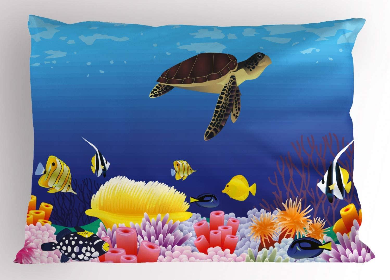 Ambesonne Ocean Pillow Sham, Modern Cartoon Deep Sea Nautical Navy Aquarium Fish Turtle Rocks Moss Artwork Print, Decorative Standard Size Printed Pillowcase, 26 X 20, Blue Brown