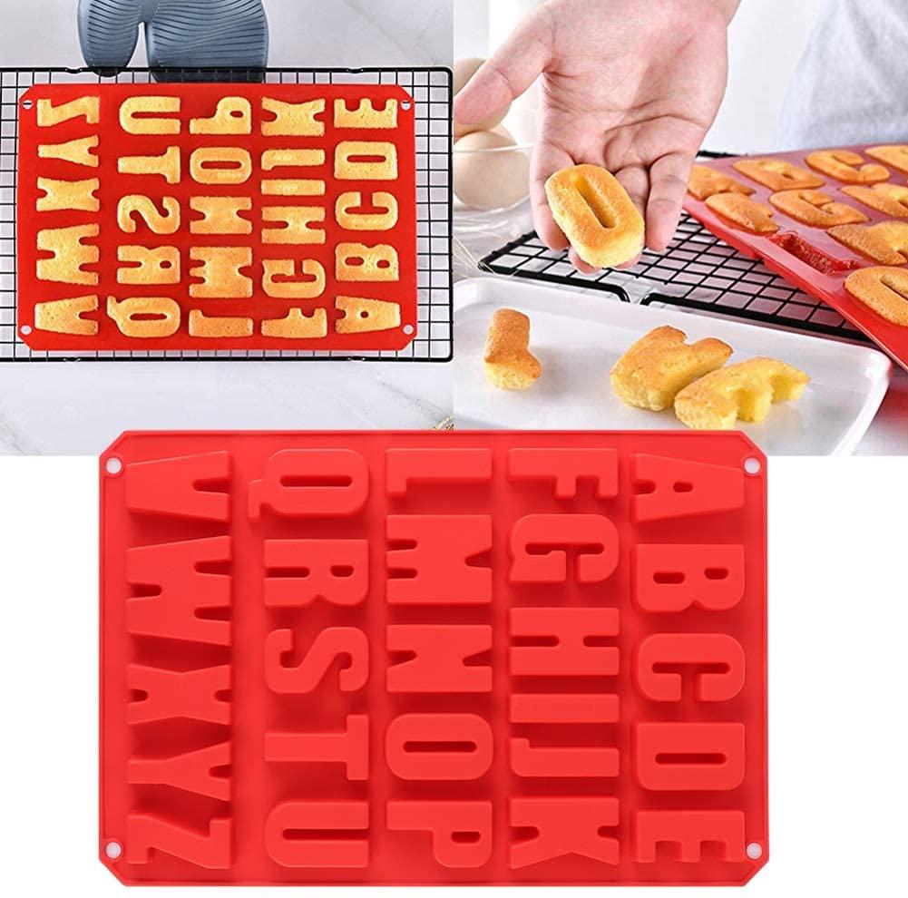 Non-Stick Ice Tray Alphabet Mold, Baking Mold, Silicone Alphabet Trays Mold Decorating Silicone Red Mold for Bakery Home Kitchen
