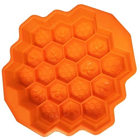 Honeycomb Cake Mold, 19 Cell Honey Comb Bees SOAP Moulds Beeswax Ice Jelly Chocolate Silicone Cake Pan