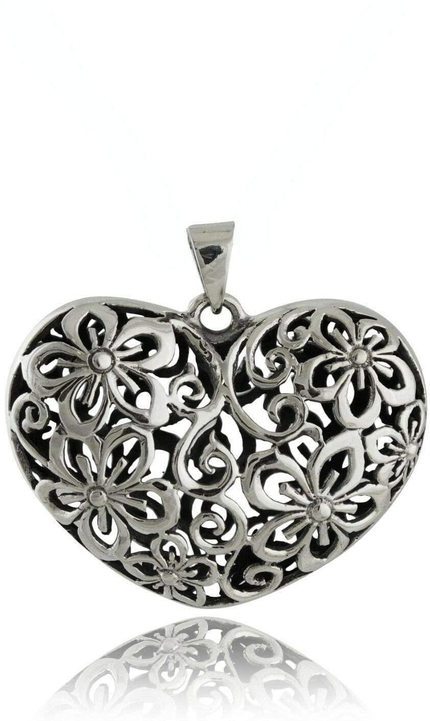 Charm Pendant - Jewelry Making DIY - Bracelet Filigree Heart - 925 Sterling Silver - Flower 3D Open Love Gift