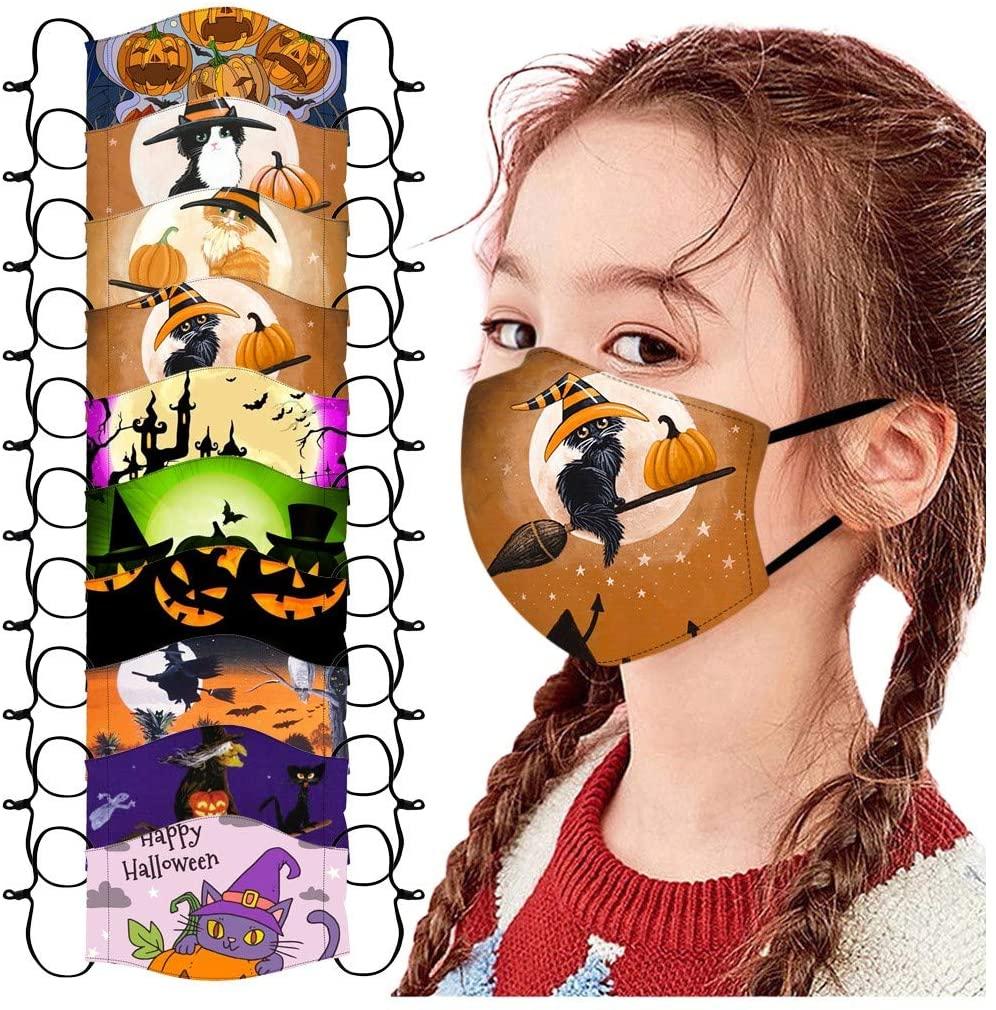 Kids Face Mask Reusable, 10PC Kids Face Mask Halloween Print Cute Cartoon Washable Cotton Face Masks for Kids Boys Girls