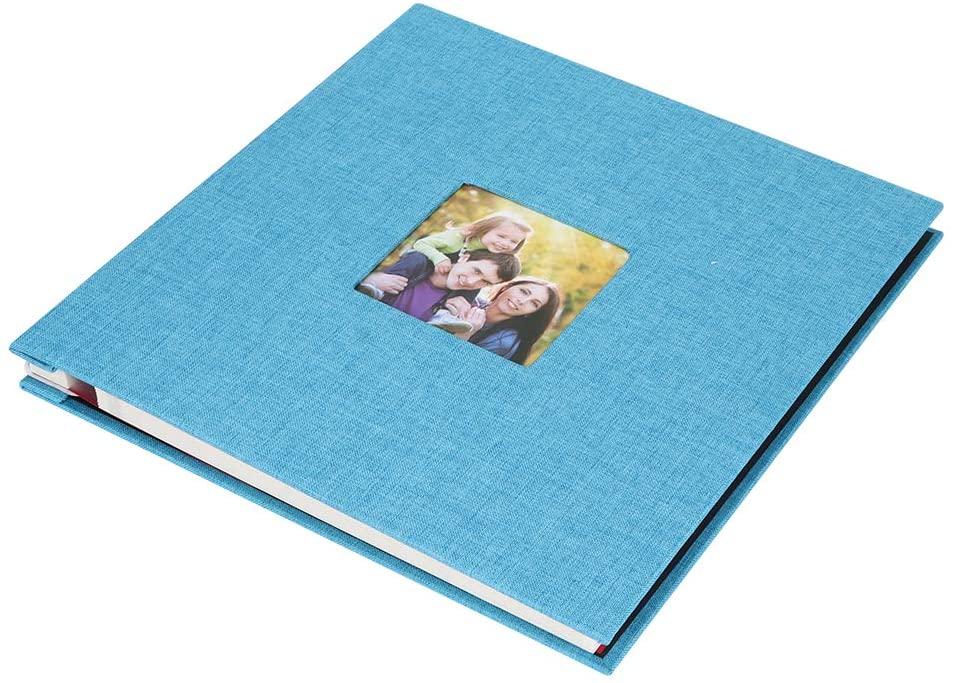 ROSEBEAR Photo Album, DIY Handcraft Self-Adhesive Linen Photo Album Record Album Scrapbook Anniversary Valentines Gifts(Light Blue 27x28cm)