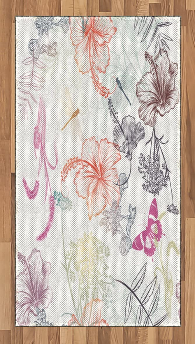 Ambesonne Dragonfly Area Rug, Floral Design Hibiscus Ornaments Moth and Dragonfly Symbolic Transformation Creature, Flat Woven Accent Rug for Living Room Bedroom Dining Room, 2.6 x 5 FT, Multicolor