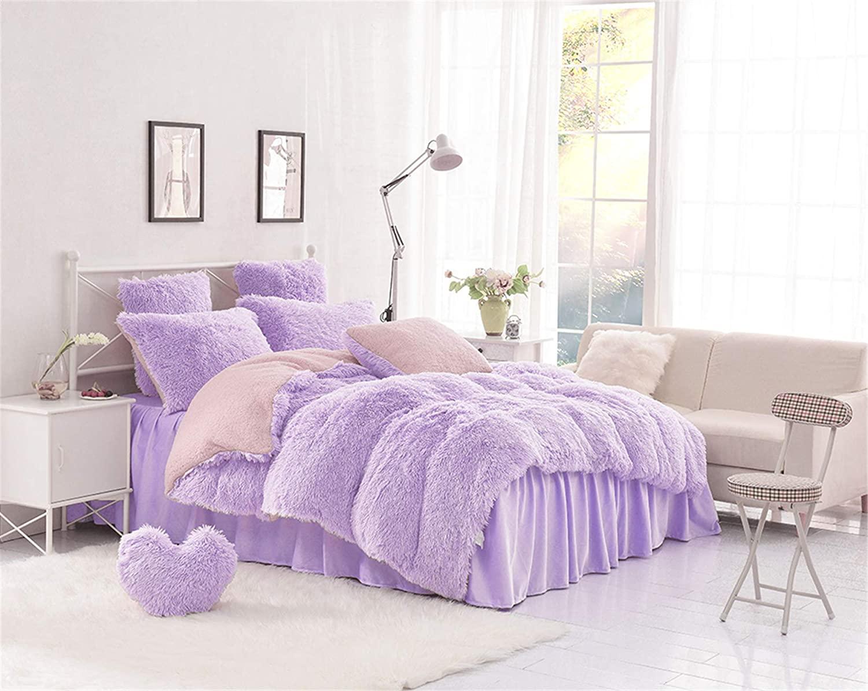 MOOWOO 3PCS Luxury Plush Fluffy Bedding Sets, 1 Faux Fur Duvet Cover + 1 Fleece Flannel Bed Sheet Skirt + 1 Furry Shaggy Pillow Sham, Zipper Closure and Ties (Purple, Twin)