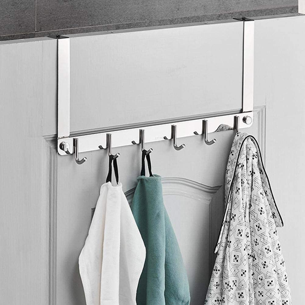Mirror Polish 304 Stainless Steel Hook Over The Door Hook, Door Hanger Hook, Anti-Oxidation Door Hanger Door Hook, Coat Bag Robe Towel for Bathroom 16.9 X 8.3 X 1.9 in for Home Bedroom