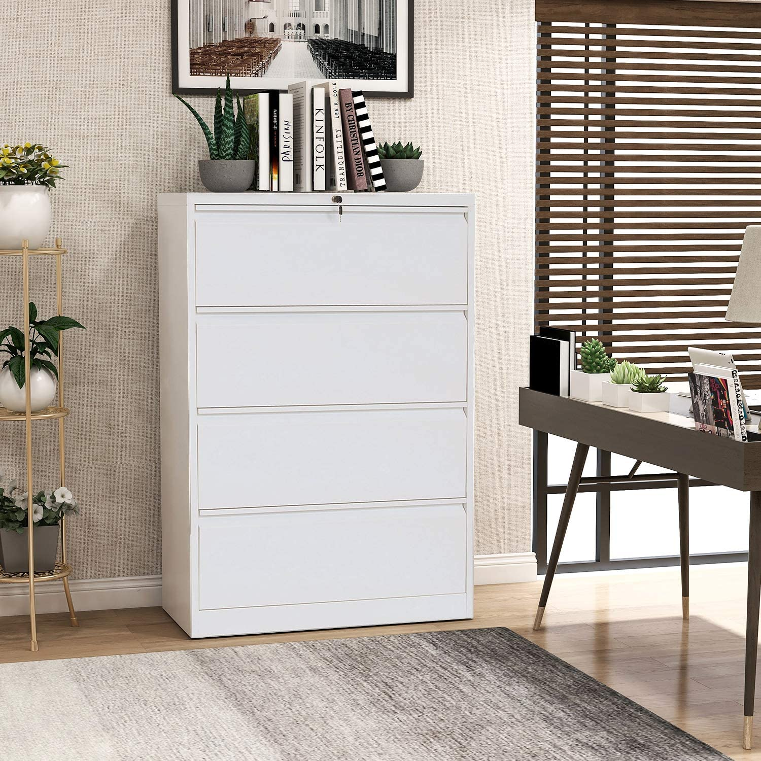 DANGRUUT Upgraded Version Large Metal Steel Lateral File Cabinet 4 Drawers with Lock, Stronger Heavy-Duty Filing Cabinet Lockable with Anti-Tilt Structure and 2 Keys for Home Office, 2020 (White-A)