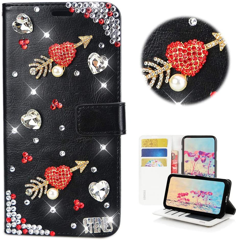 STENES Bling Wallet Case Compatible with Huawei P30 Lite - Stylish - 3D Handmade Sweet Arrow Heart Design Leather Cover with Cable Protector [4 Pack] - Black