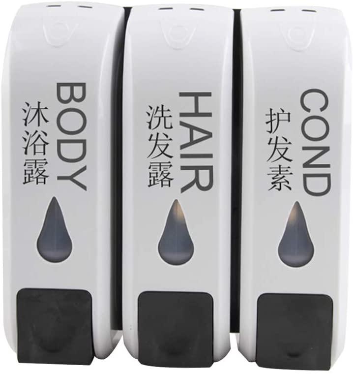 QINREN 1/2/3 Head Liquid Soap Dispenser Wall Mounted Shower Gel Bottle for Bathroom Kit,White,Plastic